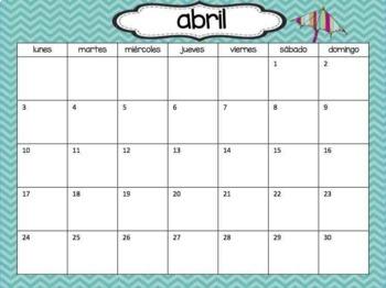 Calendar Set in Spanish - Chevron