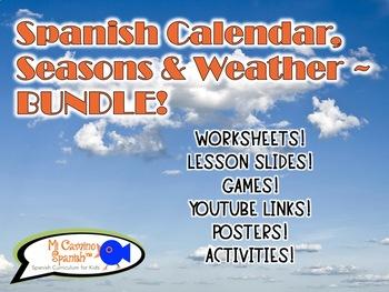 Spanish Calendar & Weather BUNDLE! (Worksheets, puzzles, games, & activities!)