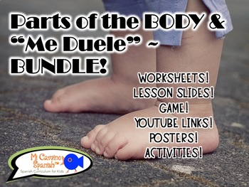 Spanish Parts of the Body BUNDLE! (Worksheets, slides, games, & activities!)