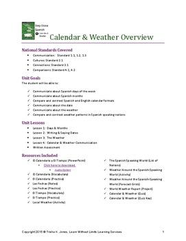 Spanish Calendar & Weather Unit Lesson Plans