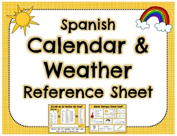 Spanish Calendar & Weather Vocabulary Reference Sheet