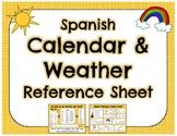 Spanish Calendar & Weather Vocabulary Reference Sheet