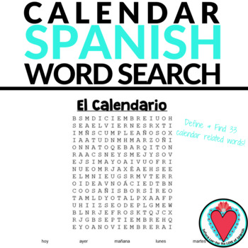 Spanish Calendar Word Search - Days of the Week, Months & Seasons