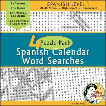 Spanish Calendar Word Search Bundle  Meses Semana Estaciones Months Days Seasons
