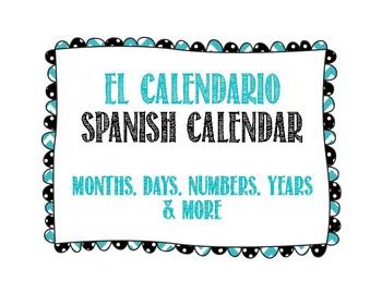 Spanish Calendar for Bulletin Board - Chalkboard