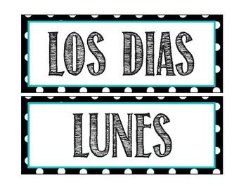Spanish Calendar for Bulletin Board - Polka Dots