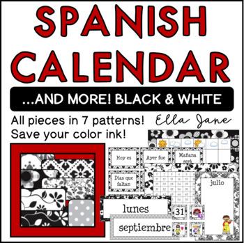 Spanish Calendar in Black and White
