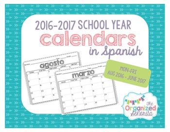 Spanish Calendars 2016-2017 / Calendarios espanoles
