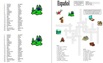 Spanish Camping and Outdoors Crossword, Image IDs, Vocabulary List