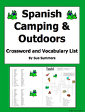 Spanish Camping and Outdoors Crossword Puzzle, Image IDs, Vocabulary List