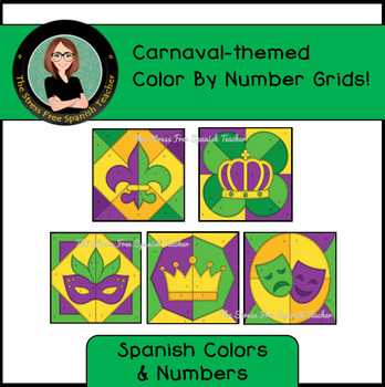 Spanish Carnaval March Mystery Pictures! Color By Number / Grids for Carnaval!