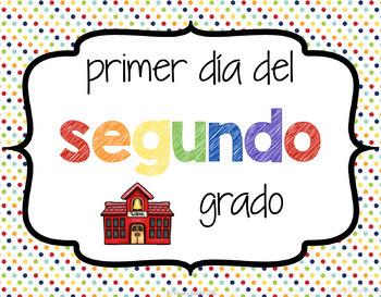 Spanish: Carteles para el primer día de escuela (First Day Photo Signs)