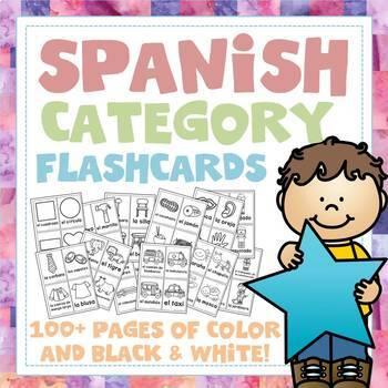 Spanish Category Vocabulary Flashcards - 100+ Page Mega Pa
