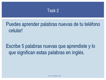 Spanish Vocabulary:  Cell Phone Activity