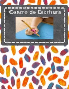 Spanish Center Labels with Pictures and Space for Velcro Tags (Watercolor)