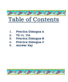 Spanish Centers: Introductory Dialogues