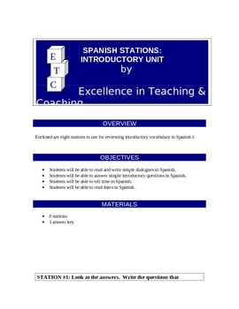 Spanish Centers: Introductory Unit