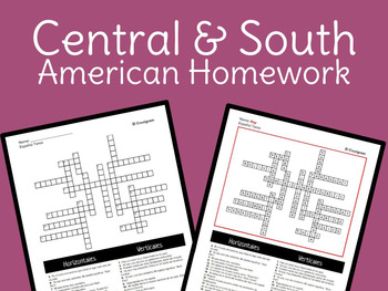 Spanish – Central & South America Crossword Puzzle Homework