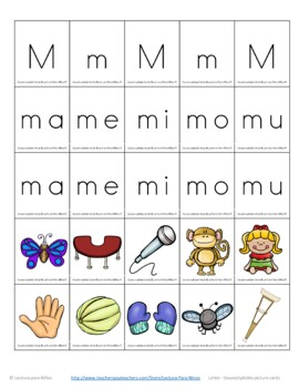 Spanish Phonics  Centros foneticos 002: Initial Sound/Syllable Picture Sort A-Z
