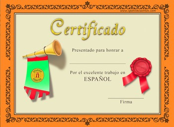 Spanish certificate by spanish cuentos teachers pay teachers spanish certificate yadclub Choice Image