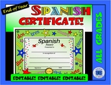 Spanish Certificate - Editable - Stars and Numbers Theme
