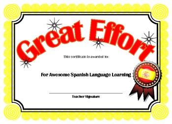 Spanish Certificate language achievement award