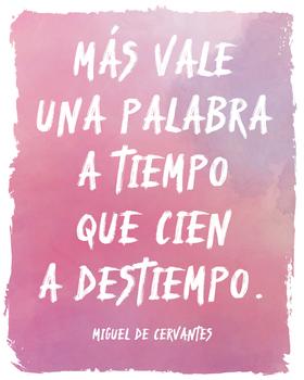 Spanish Cervantes quote poster - Mas vale...
