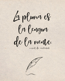 Spanish Cervantes quote poster - the pen is the tongue of