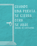 Spanish Cervantes quote poster - when one door opens