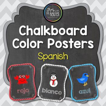 Spanish Chalkboard Color Identification Poster Set