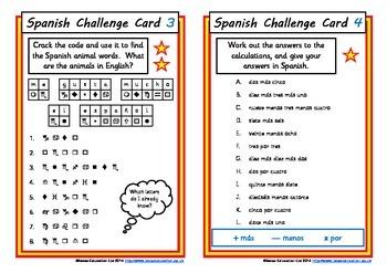 Spanish Challenge Cards
