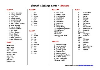Spanish Challenge Cards - answers