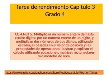 Spanish 4th grade Chapter 3  Math performance task