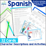 Spanish Basics Character Cards and Activities