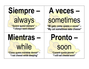 Spanish Cheese-Themed Word Wall Words
