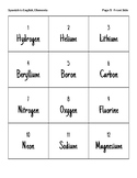 Spanish Chemical Elements Flash Cards for ELL