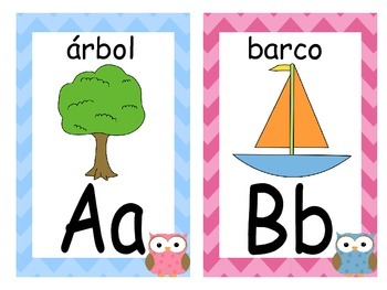 Spanish Chevron & Owls Word Wall