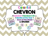 Spanish Chevron Alphabet, Numbers 1-20, Days of the Week,