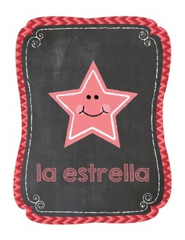 Spanish Chevron Chalkboard 2D and 3D Shape Poster Printables