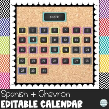 Spanish Chevron Chalkboard Classroom Calendar Set 9 Colors