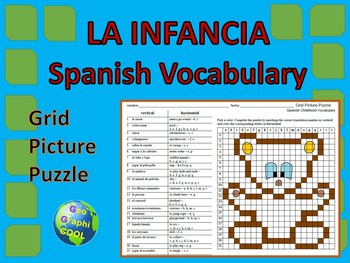 Spanish Childhood Vocabulary Grid Puzzle