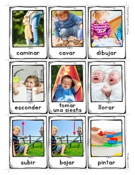 Spanish Childhood 1 Vocabulary Posters & Flashcards with Real Photos