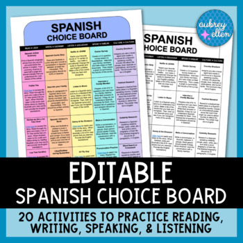Spanish Choice Board   Digital Classroom   Differentiated Distance Learning