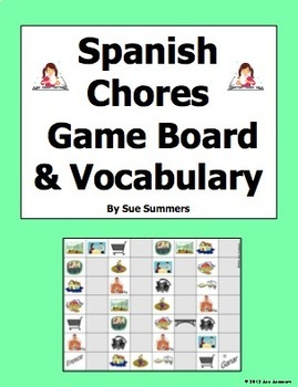Spanish Chores Board Game and Vocabulary - Los Quehaceres
