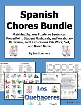 Spanish Chores Bundle - PowerPoint, Flash Cards, Vocabulary, Puzzle