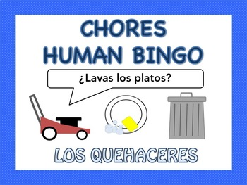 Spanish Chores Human Bingo Activity