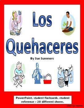Spanish Chores PowerPoint, Student Flash Cards, and Vocabulary Reference