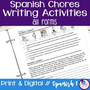 Spanish Chores Reading & Writing Activities - all forms