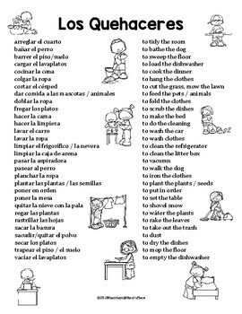 Spanish Chores Reference (Los Quehaceres)