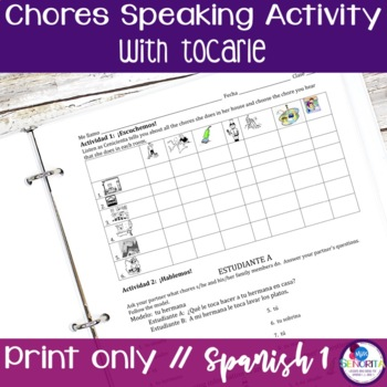 Spanish Chores Speaking & Listening Activity with Tocarle